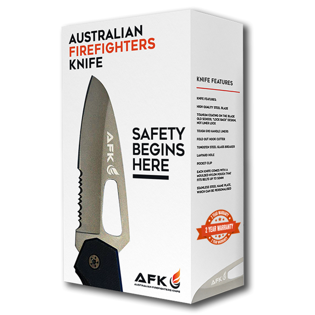 Australian Firefighters Knife Packaging (Personal) with Warranty Stamp